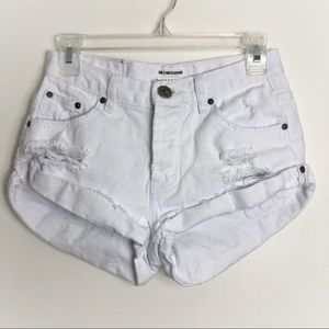 One Teaspoon Distressed White Bandits Short Shorts